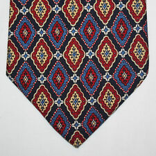 NEW Nautica Silk Neck Tie Black with Red Blue Beige and Yellow Pattern 712