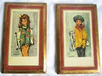 Italian Handcrafted Set 2 Wall Plaques Solid Wood Distressed Gold News Boy Girl