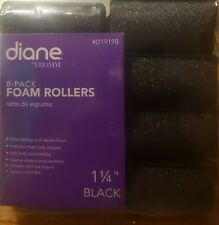 """Diane Soft Foam Cushion Hair Rollers Curlers Extra Large 8pc 1 1/4"""" Black D1919B"""