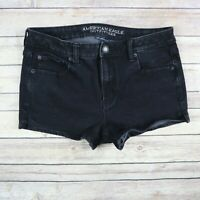 AMERICAN EAGLE Women's 360 Super Stretch Hi Rise Shortie Denim Shorts 10 Black