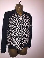 River Island Black & White Jacket Aztec Print With Leather Shoulders Sz 6/8/10