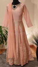 Indian Peach Long Dress, Neck Mirror Work, Gold print, Leggings, Dupatta, Kurta