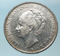 1937 Netherlands Queen WILHELMINA 2.5 Gulden Authentic DUTCH Silver Coin i83786