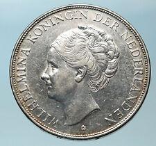 1937 Netherlands Queen WILHELMINA 2.5 Gulden Authentic DUTCH Silver Coin i83786