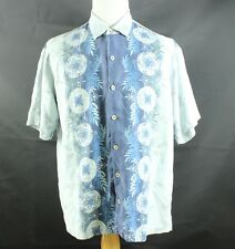 TOMMY BAHAMA Mens XL Blue Floral CAMP SILK Bowling Casual Short Sleeve Shirt