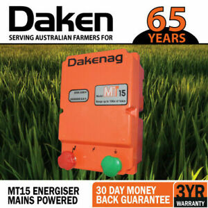 15km MAINS Power Electric Fence Energiser Energizer 1.7J DAKEN 3YR WARRANTY