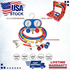 A/C Manifold Gauge Set R134A Refrigeration Kit Brass 5FT Colored Hose w/ Case US