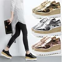 Patent Leather Women's Lace Up Platform Oxfords Wedge Heel Casual Pumps Shoes