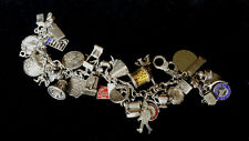 vINTAGE STERLING SILVER CHARM BRACELET WITH 34 CHARMS Moveable, Enamel 101 gms
