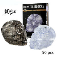 3D Crystal Puzzle Skull Clear Model DIY Gadget Blocks Building Toy Gift For Kids