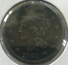 1843 Braided Hair Large Cent - Nice Extra Fine Details - Reverse Scratches