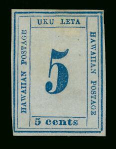 HAWAII 1865 Numerals  5c blue, bluish paper  Type X   Scott # 21 mint MH  VF
