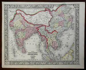Asia India British Raj Southeast Asia Qing China Tibet 1860 Mitchell map