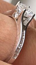 14K SOLID RING real White Gold Round manmade Diamond Engagement wedding  7 5689