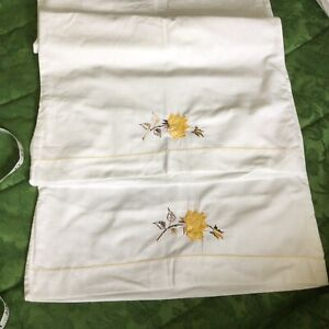 """Vintage Style Embroidered Cotton Pillowcases 17"""" 27"""""""