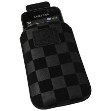 Vertical bolso funda negra para HTC Wildfire S Touch