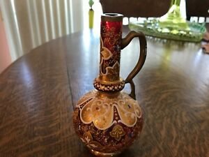 "Victorian Moser Cranberry Enamel Glass Miniature Pitcher 5.5"" T"