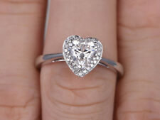 1.50 Ct Heart Cut Diamond Engagement Ring Real 18K White Gold Size H I J