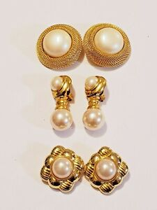 3 Piece Joan Rivers Gold Plated Faux Pearl Accent Clip-on Earring Lot