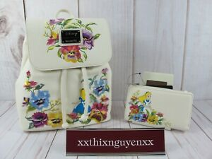 Loungefly Disney Alice in Wonderland Floral Backpack & Wallet ~ NWT