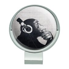 Headphone Chimp Monkey Wall Golf Hat Clip With Magnetic Ball Marker