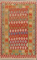 Reversible Hand-woven Kilim Oriental Area Rug Geometric Diamond Foyer Carpet 5x7