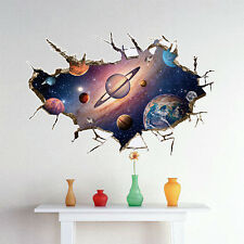 Earth Space Moon Planet Boys Bedroom Smashed Wall Decal 3D Art Stickers