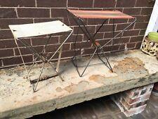 2 Retro Folding Metal Stool Deck Chair Fishing Camping Campervan
