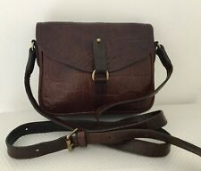 Vintage Mulberry Rich Brown Nile Print Leather Small Satchel Cross Body Bag
