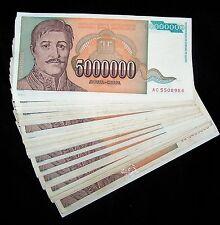 50 x Yugoslavia 5 million Dinara banknotes /1993 /P-132 circulated currency