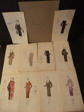 EXCEPTIONNEL 10 DESSINS ORIGINAUX COULEURS MODE HAUTE COUTURE 1920 Maison JENNY