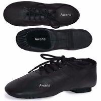 Pure Leather, Split Suede Sole Jazz Dance Shoes, Black