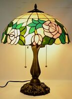 """Tiffany Style 16"""" Rose Stained Glass Shade Table Lamp  Bedroom, living room"""