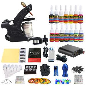 Complete Tattoo Kit 1 Beginner Machine Gun 14 Inks Power Supply Needles Tip Grip