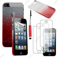 Housse Etui Coque Rigide Gouttes Rouge Apple iPhone SE 5S 5+Mini Stylet+3 Films