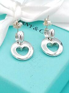 Tiffany & Co. Stencil Cut Out Heart Hoop Dangle Drop Earrings in Sterling Silver