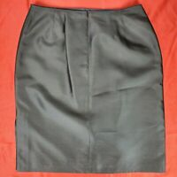 Talbots 100% Pure Silk Women's Skirt Size 16 Black Pencil Solid Zipper Closure