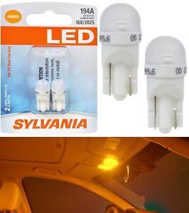 Sylvania Premium LED light 194 Amber Orange Two Bulbs Interior Map Upgrade Lamp