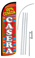 100% COMIDA CASERA Flag Kit 3' Wide Windless Swooper Feather Advertising Sign