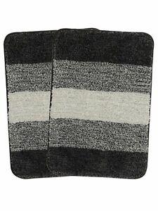 Black Microfiber Rectangular 35X50CM 1Piece Striped Bath Mat With Anti-Skid Back