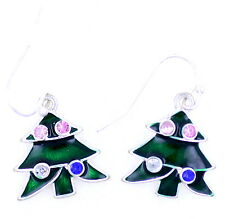 Festive silver tone green enamel Christmas tree earrings, Xmas gift