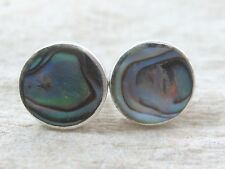 REAL 925 sterling silver MED 8mm PAUA SHELL New Zealand ABALONE studs Earrings