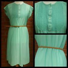 vintage st Michael mint green shirt dress tunic size 14 16 bib front