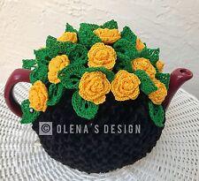 HandmadeCrochet tea cozy black tea cover yellow rose tea cosy tea warmer rosebud