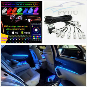 14 Pcs Car RGB 14in1 Interior LED EL Lights+10M Optical Fiber Strip APP Control