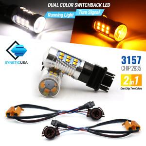2x 3157/3457 Error-Free Switchback White/Amber 24-LED Turn Signal Parking Bulbs