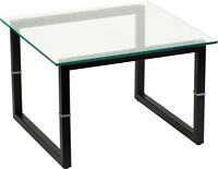 Contemporary Elegant Style Accent Glass End Table with Black Metal Legs