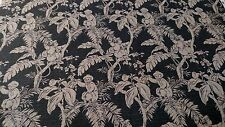 "Vintage Printed 100% Flax Linen Toile Fabric Soft Natural Fiber 56""W Upholstery"