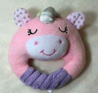 Spark Create Imagine Unicorn Ring Rattle Plush Stuffed Baby Toy Pink Lovey