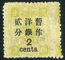 Imp China Dowager Large Figure Narrow Spaced 2c on 2cd with Imperf Var Mint OG
